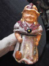VINTAGE TOBY JUG GOOD LARGE SIZE LADY CHARLADY CLEANER STAMP INDISTINCT 8.5""